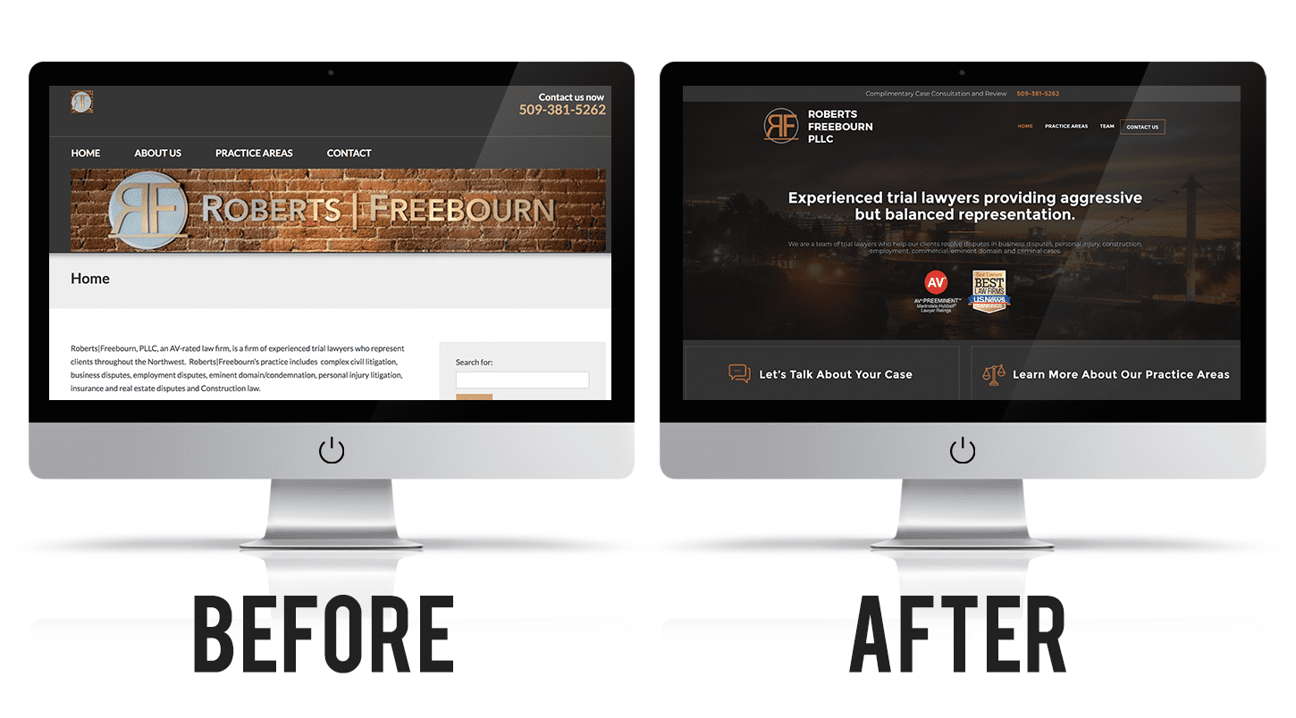 Roberts Freebourn PLLC's website before and after