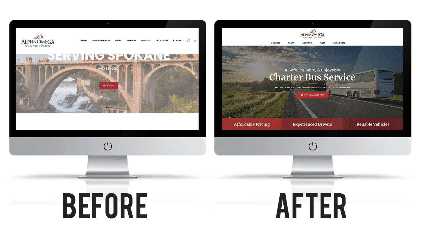 Alpha & Omega's website before and after