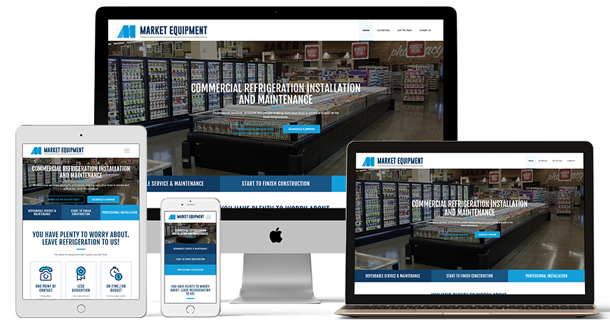 Market Equipment's website on a phone, laptop, ipad