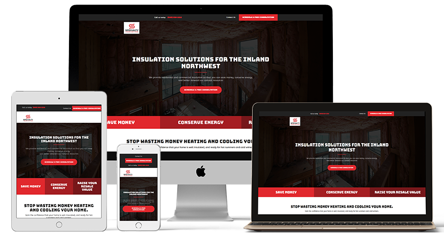 Specialty Group's website on a phone, laptop, iPad