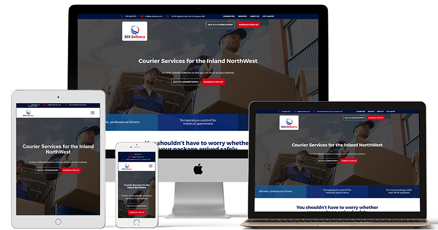 SCS Delivery's website on a phone, laptop, and iPad