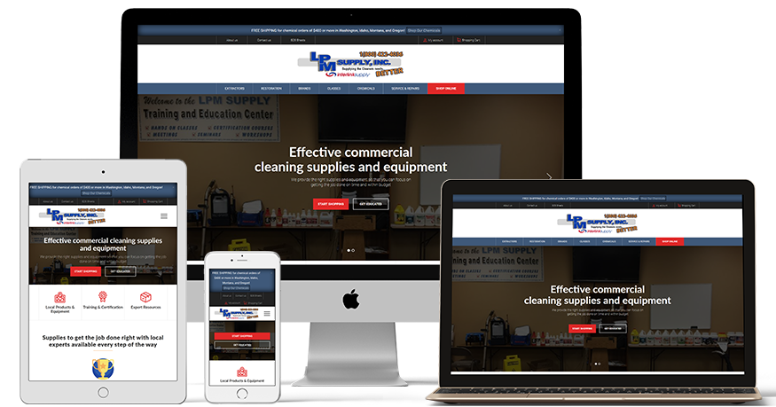 LPM Supply's website on a phone, Laptop, iPad