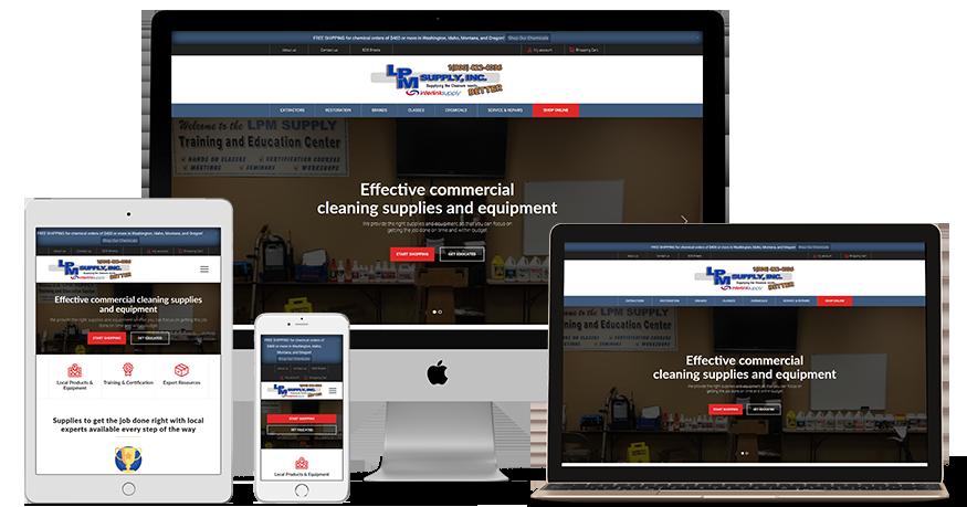 LPM Supply's website on a phone, Laptop, iPad