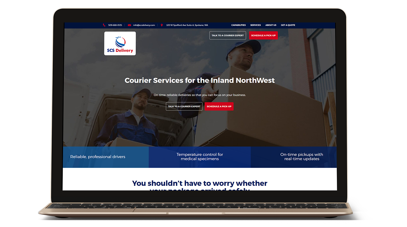 SCS Delivery's website on a laptop