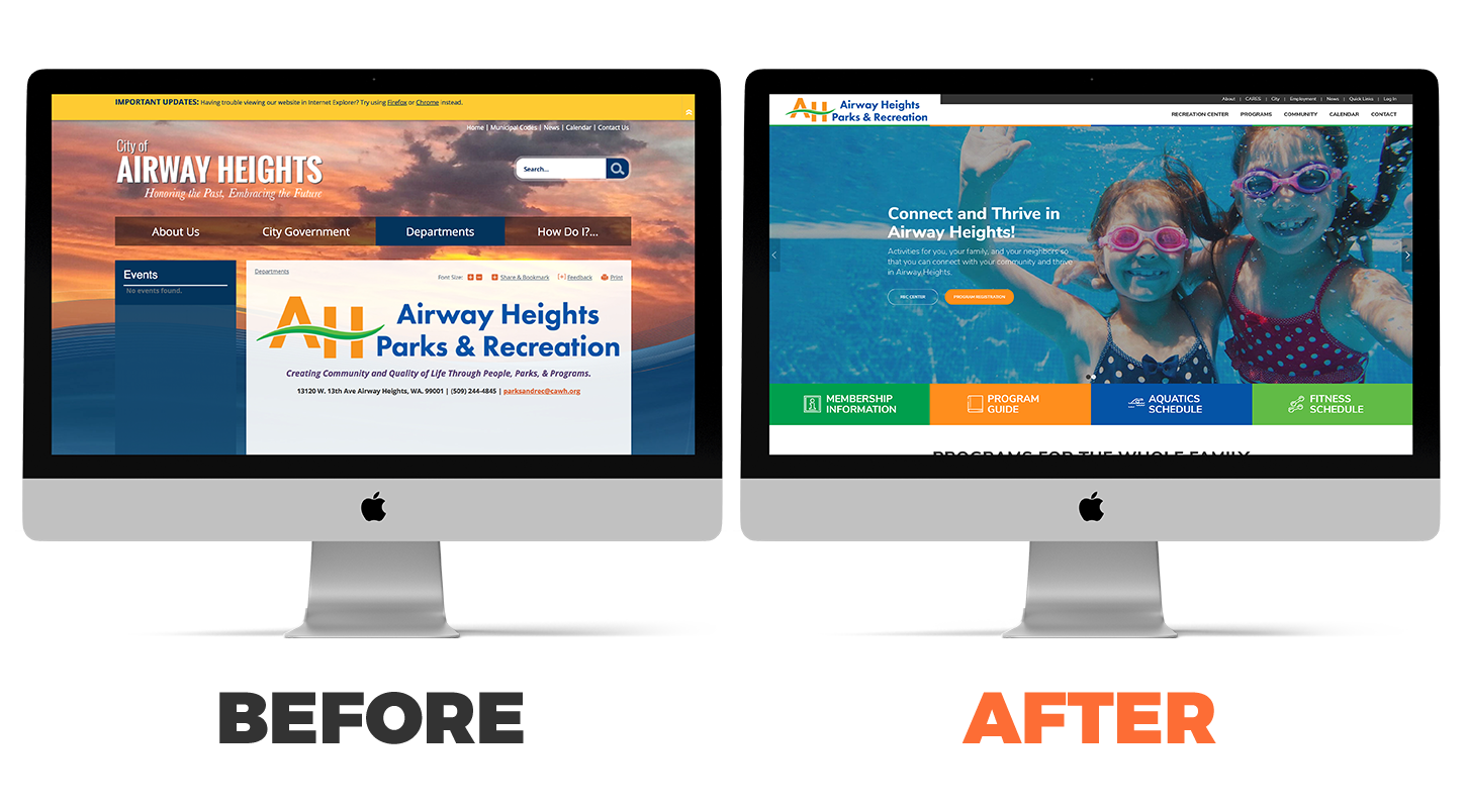 Airway Heights Park and Recreation website before and after