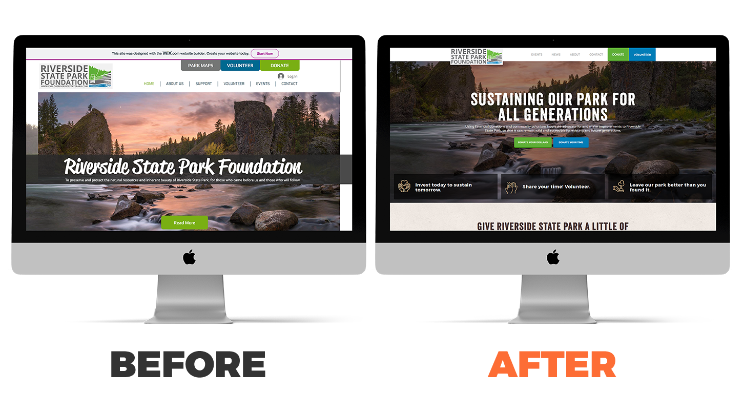 Riverside State Park Foundation's website before and after
