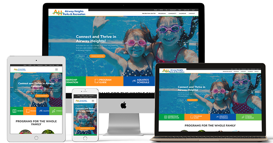 Airway Heights Park and Recreation website on a phone, Laptop, iPad