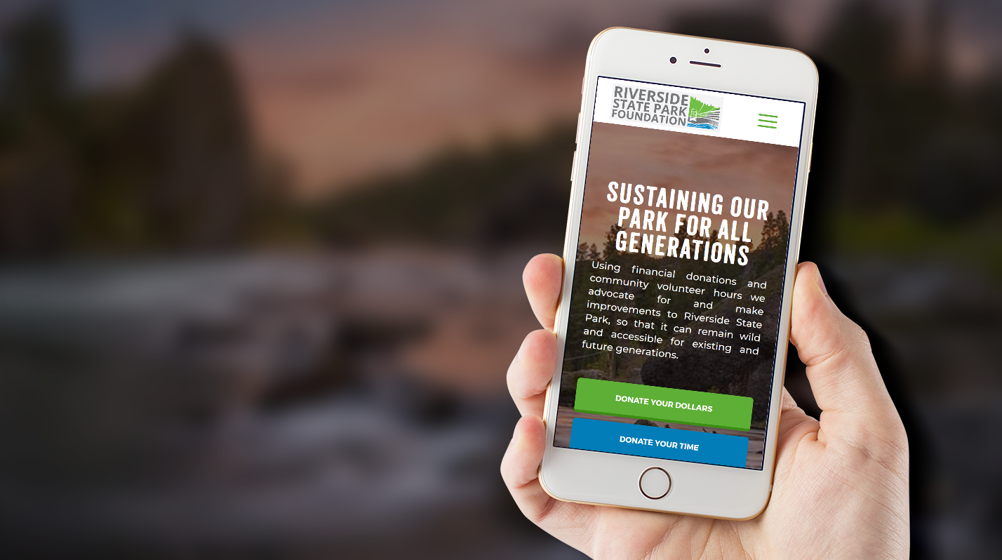 Riverside State Park Foundation's website on a phone