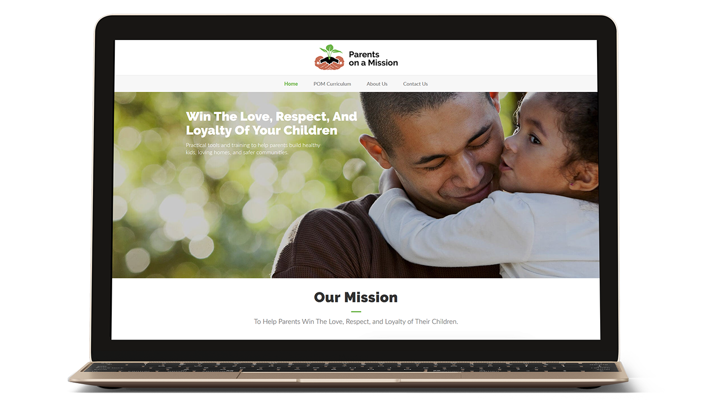 Parents on a Mission website on a laptop