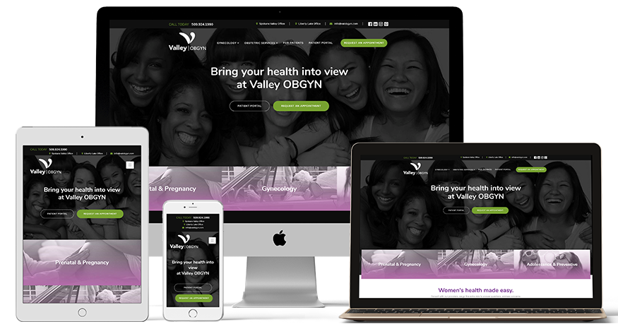 Valley OBGYN website on a phone, laptop, iPad
