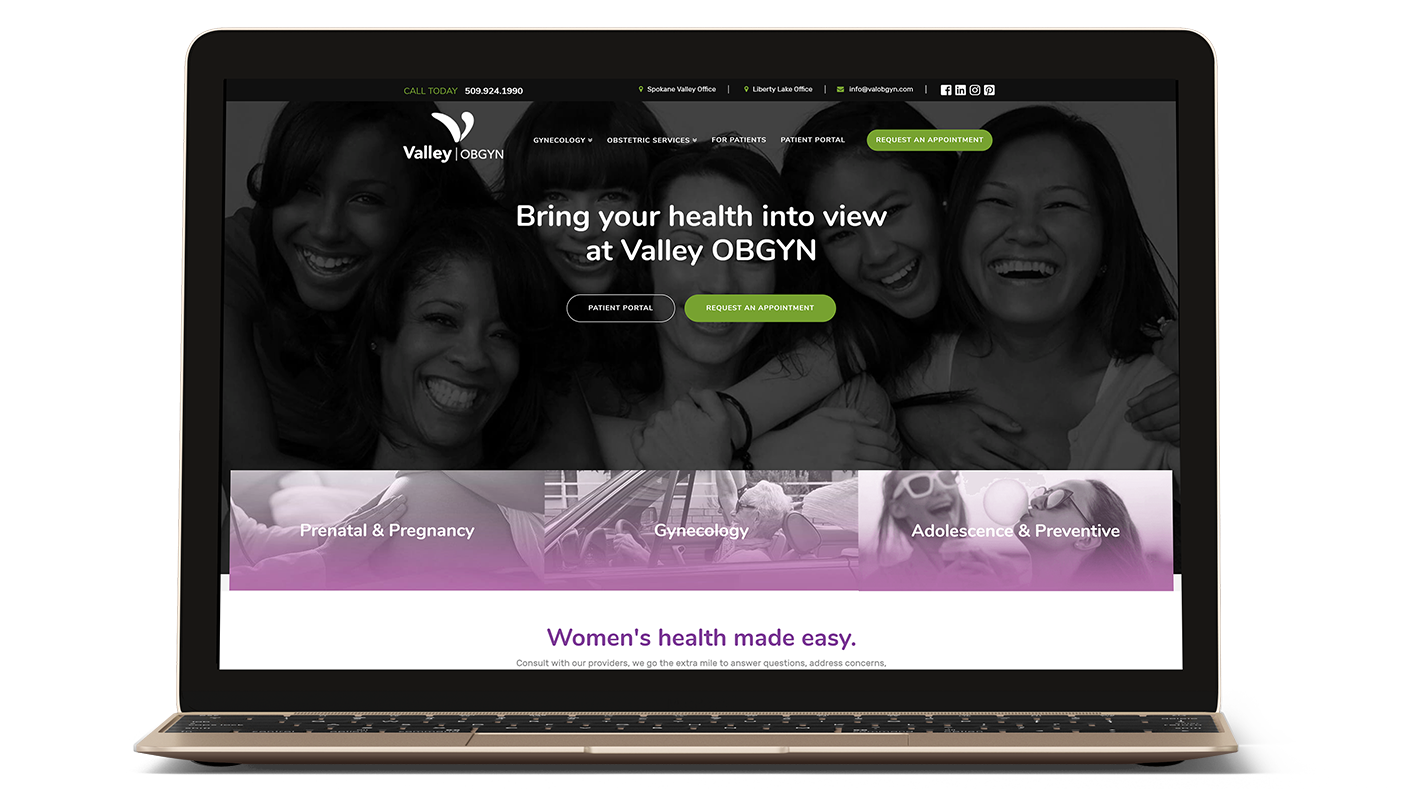 Valley OBGYN website on a Laptop