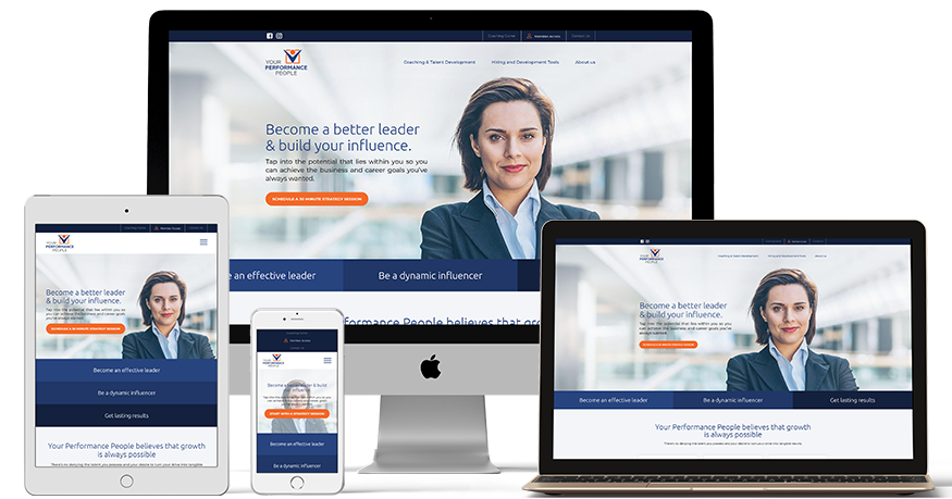 Your Performance people website on a phone, iPad, and Laptop