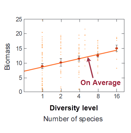 "Graph showing rising trend in biomass as species diversity increases from 1 to 16. Note on trendline reading ""On Average"""
