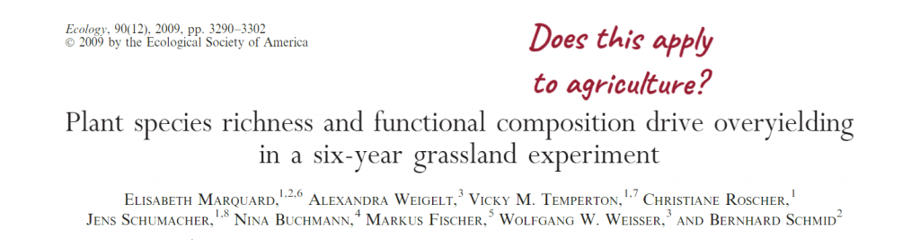 "Title of paper ""Plant species richness and function composition drive overyielding in a six-year grassland experiment"". Note reading ""Does this apply to agriculture?"""