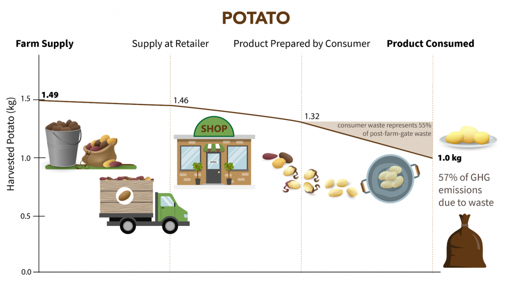 Graph showing food mass lost from field (1.49kg) to finish food (1.0kg). Consumer waste represents 55% of post-farm-gate waste.