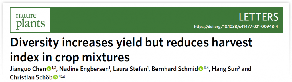 """Title of journal article """"Diversity increases yield but reduces harvest index in crop mixtures"""""""
