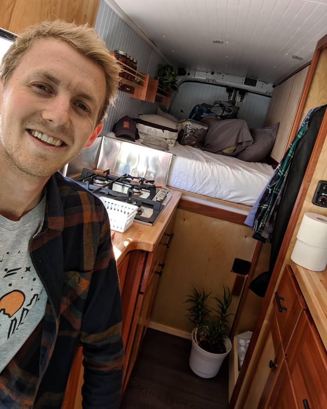 tall man van-travel nursing-van life-travel van conversion