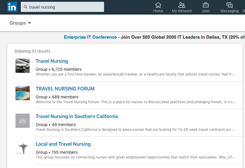 LinkedIn-travel healthcare social media