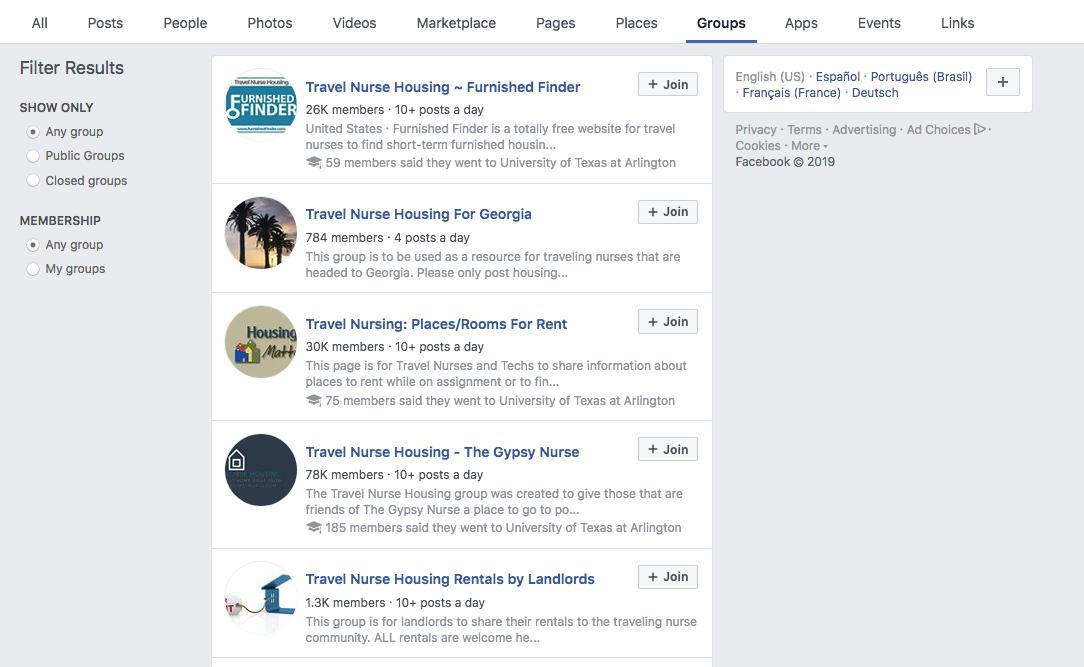 travel nurse housing-facebook