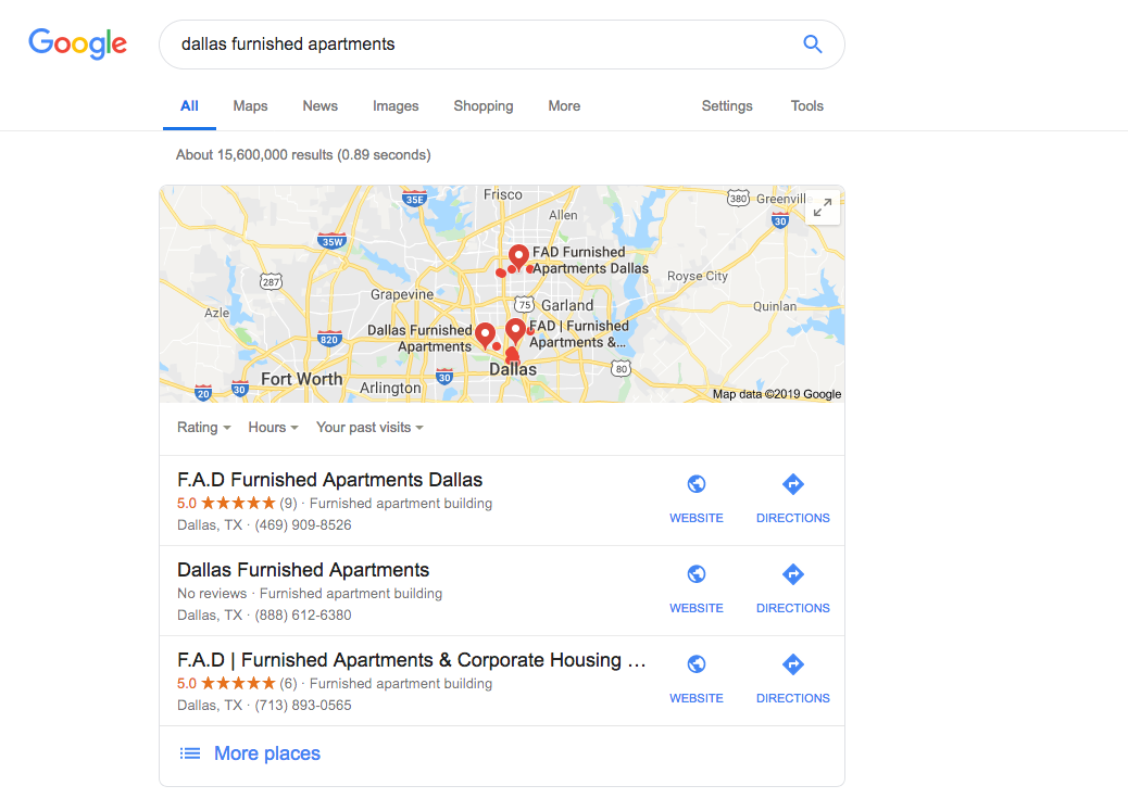 google-furnished apartments search