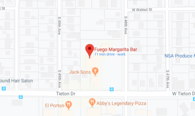 Image of Google Maps location for Fuego Margarita Bar