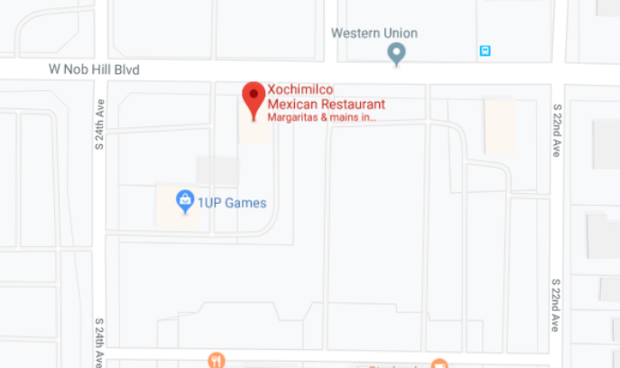 Image of Google Maps location for Xochimilco Mexican Restaurant