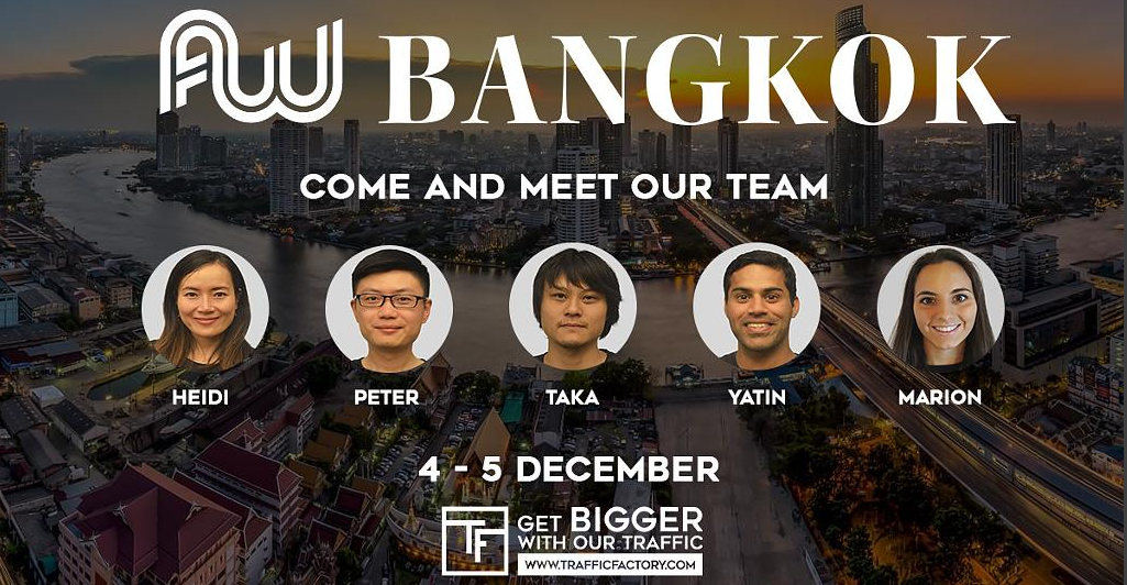 Meet us at Affiliate World Asia Booth A33 - Bangkok  December 4 - 5